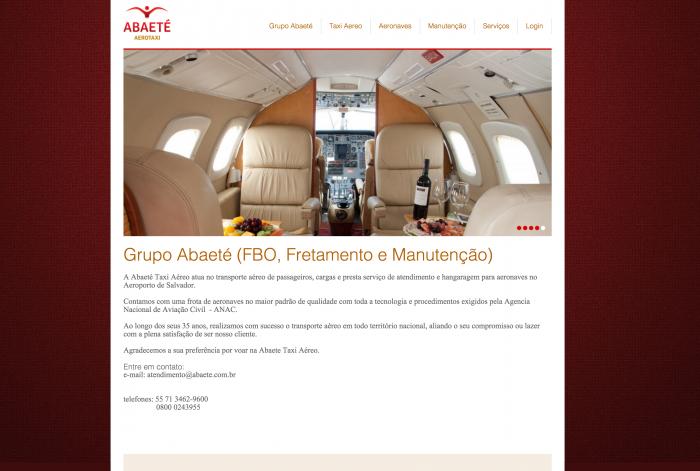 Página principal do site da Abaeté Aerotaxi