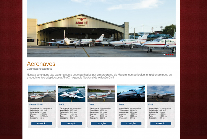 Página com as aeronaves do site da Abaeté Aerotaxi