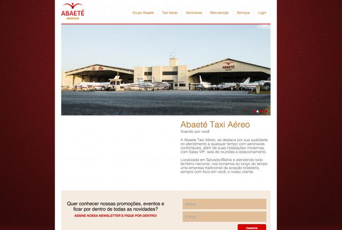 Página de contato do site da Abaeté Aerotaxi