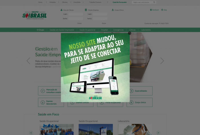 Página principal do site do Grupo SH Brasil