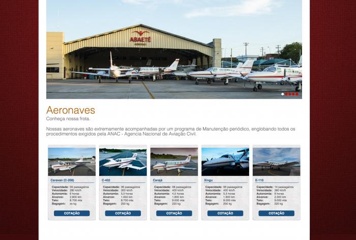 Página com as aeronaves do site da Abaeté Aerotaxi
