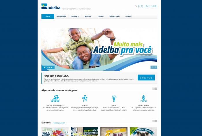 Página principal do site da Adelba