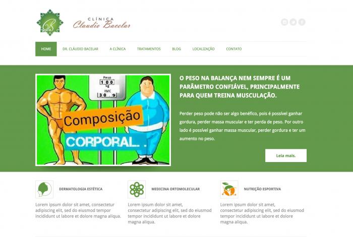 Página principal do site da Clínica Claudio Bacelar