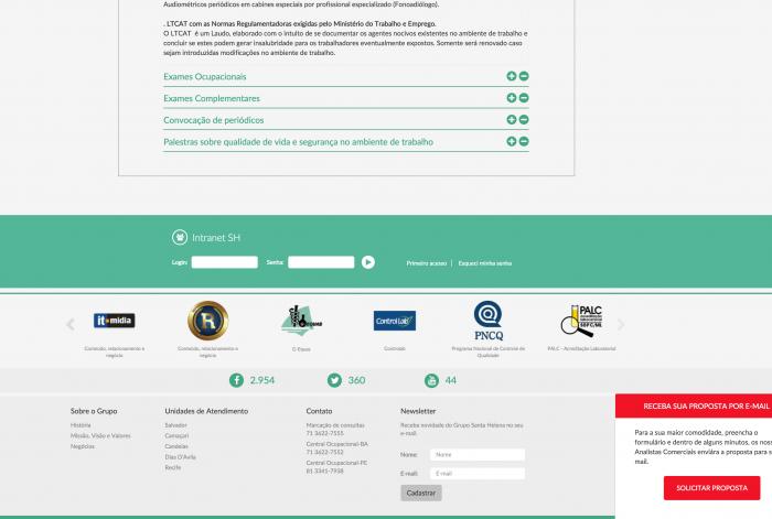 Rodapé do site do Grupo SH Brasil