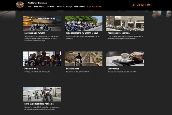 Página principal da H.O.G Rio Chapter da Rio Harley-Davidson