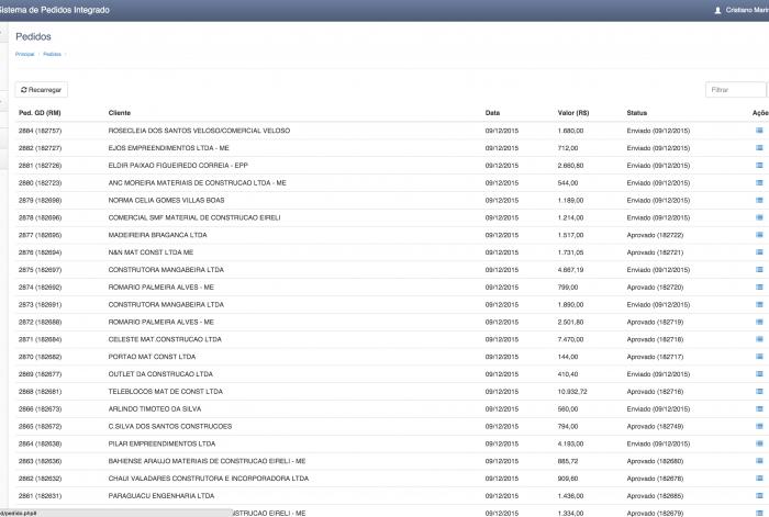 Página do sistema da MacXCola