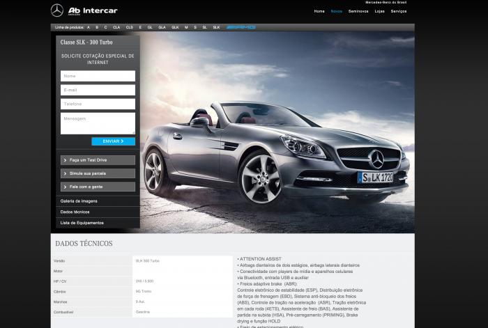Página de detalhes do veículo do site AB Intercar Mercedes-Benz