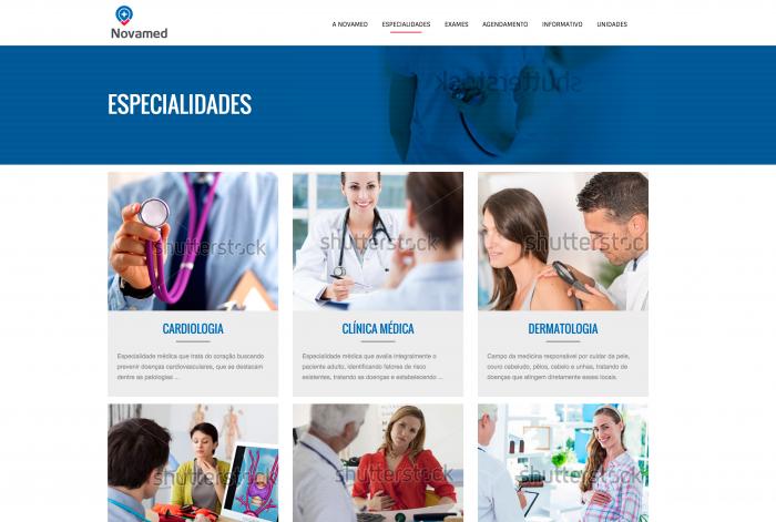 Página de especialidades do site da Novamed