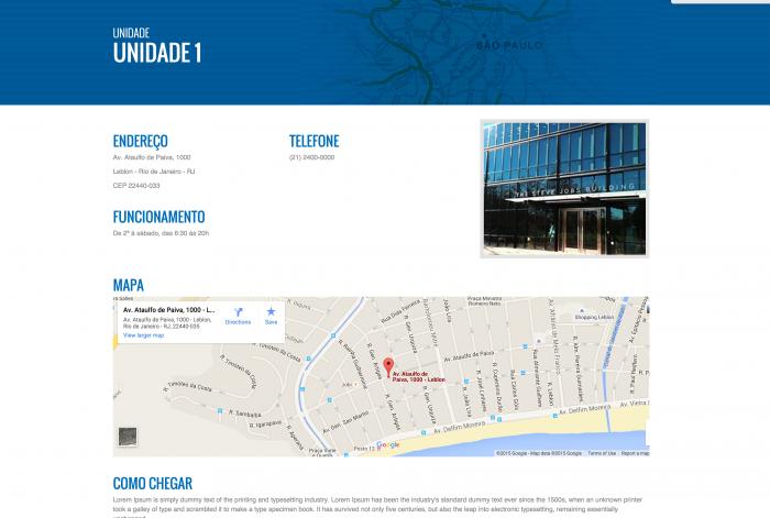 Página das unidades do site da Novamed