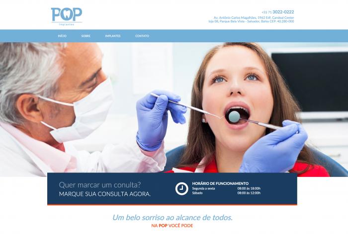 Página principal do site da POP Implantes