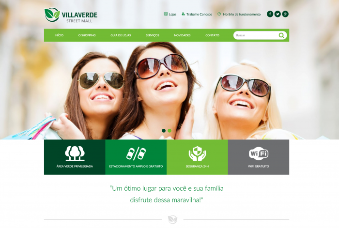 Página principal do site do Shopping VillaVerde