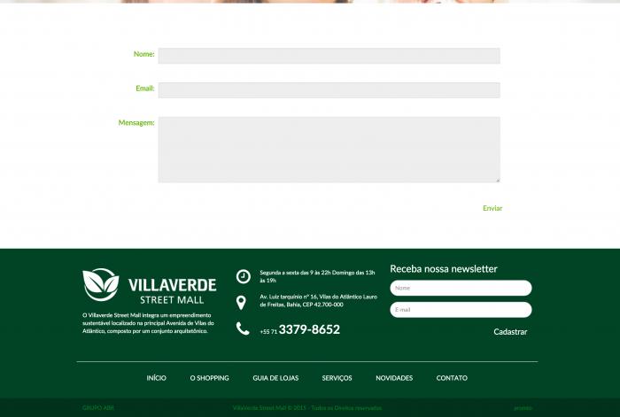 Rodapé do site do Shopping VillaVerde